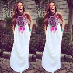 chiffon maxi dress Gorgeous all white fully lined maxi dress with beautiful Bohemian printed front detail. So sexy!! So chic!! Wear it up or down              20% off bundles of 2 or more 5+ items  get 25% discount. Just contact me so I can make you a special listing just for you.         You can buy or bundle this listing                  All items are brand new!! Please choose your size carefully as measurements where carefully put together for each individual item. Dresses
