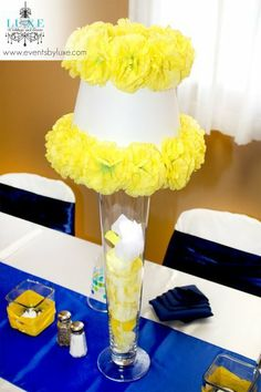 Royal blue and yellow centerpiece for wedding
