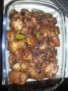 Sweet and spicy binagoongang baboy  (pork in shrimp paste)
