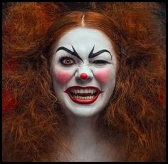 """Crazy Clown Halloween makeup....inspired by Stephen King's """"IT"""" and numerous Vampire and Vampyre Legends.  I WANT TO BE BITTEN BY HER!!!!!!!!!"""
