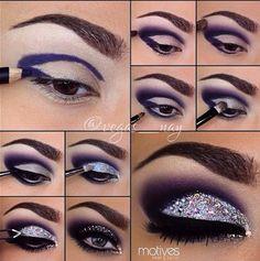 Silver glitter rhinestones and a purple smokey crease 15 Fun Makeup Tutorials Using Glitter