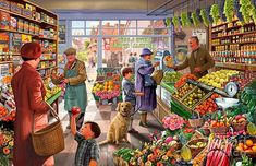 Village Grocer - Jigsaw Puzzle by Vermont Christmas Company Retro, New Puzzle, Puzzle 1000, Photocollage, 5d Diamond Painting, Norman Rockwell, Vintage Art, 1000 Piece Jigsaw Puzzles, Folk Art