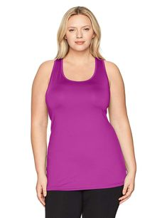 2a7dc33a46 Just My Size Women s Plus Size Active Racerback Jersey Tank Top Soft jersey  fabric with a hint of stretch Racer back styling with center back seam to  add ...