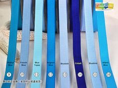 09. Methyl Blue 10. French Blue 11. Blue Topaz 12. Aegean Blue 13. Bluebell 14. Cobalt 15. Bluebird 16. Island Blue