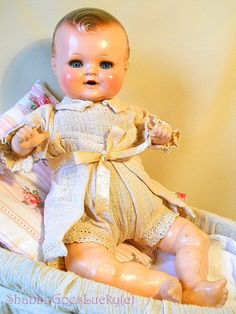 Antique German baby doll 1930s paper Mache by ShabbyGoesLucky, €130.00