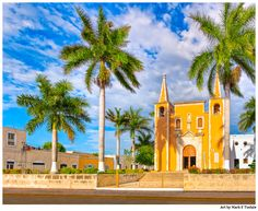 Beautiful Yellow Church Mexican Art Print by Mark E Tisdale- cheerful tropical colors available on canvas, metal, and acrylic or as framed prints.