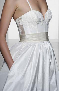 Amsale 'Cameron' Lace Appliqué Corset Bodice Silk Taffeta Dress (In Stores Only)   Nordstrom