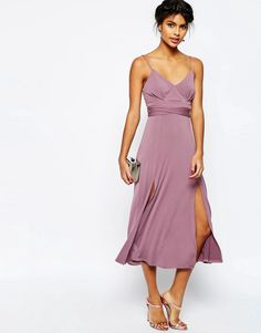 Image 4 of ASOS Cami Tie Waist Double Split Midi Dress