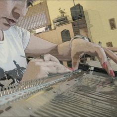 Me and my knitting machine, magic picture! A small part of the production in time...