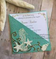 Items similar to Under the sea, Beach theme quinceañera, Sweet sixteen invitation. on Etsy Sea Wedding Theme, Beach Wedding Reception, Sea Theme, Reception Card, Quince Invitations, Sweet Sixteen Invitations, Wedding Invitations, Quinceanera Planning, Quinceanera Themes