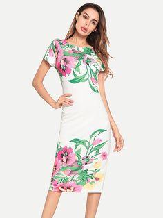 39dd8d1734 Vinfemass Floral Printed Bodycon Knee Pencil Dress