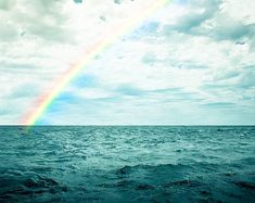 ocean photography nautical decor rainbow over the ocean