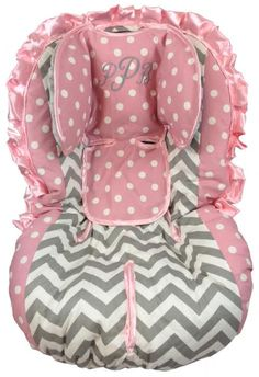 Baby Pink Dot And Grey Chevron Toddler Car Seat Cover By RitzyBabyOriginal Seats