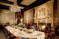 The Winter Dining Room at Hatfield House was created out of two rooms in the nineteenth century. The original Jacobean marble chimneypieces was then moved from another room in the house.