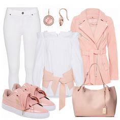 Toller Look aus einer weißen Jeans, rosa Lederjacke und rosa Puma Sneakern... #fashion #fashionista #fashionvictim #damenoutfit #frauenoutfit #outfit #komplettesoutfit #mode #damenmode #frauenmode #frühling #frühjahr