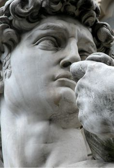 detail of Michelangelo's David from Tumblr
