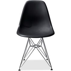 Eames® Molded Plastic Side Chair with Wire Base ($271) ❤ liked on Polyvore featuring home, furniture, chairs, chair, black, house, molded plastic side chair, molded chair, wire base chair and black furniture