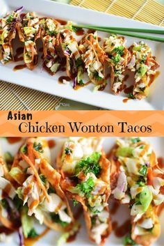 Asian Chicken Wonton Tacos Asian Chicken Wonton Tacos are fresh veggies and chicken, drizzled with sesame dressing and hoisin sauce, nestled in crispy, golden wontons! A Game Day hit! Chicken Wonton Tacos, Chicken Wontons, Wonton Wraps, Chicken Salad, Asian Recipes, Mexican Food Recipes, Healthy Recipes, Ethnic Recipes, Wonton Recipes