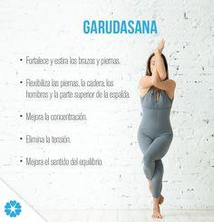 Realizar la postura Garudasana te ayudará a activar la energía del cuerpo y a despejar la mente; además te brindará otros beneficios terapéuticos, ya que es muy buena para los casos de ciática, asma y cualquier dolor de espalda. Es recomendable permanecer en esta posición durante algunos minutos; sin embargo, las personas que tienen lesiones en las rodillas, no deben intentar llevarla a cabo. #GhranDiosa #Mindfulness #postura #asana #beneficios