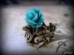 Adjustable Ring Vintage Brass Filigree Teal Blossom by Thecatslave, $22.00