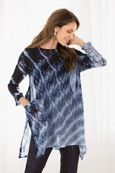 Silk Bubble Gauze Swallowtail Top by Michael Kane: Shibori Tunic available at www.artfulhome.com