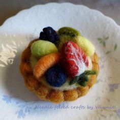 Needle felted dessert Mixed fruit tart by FunFeltByWinnie on Etsy, $38.00