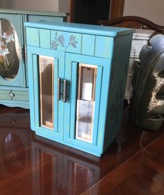 Jewelry Box // Painted Jewelry Armoire // Vintage Upcycled Jewelry Box by ByeByBirdieDesigns on Etsy https://www.etsy.com/listing/472123971/jewelry-box-painted-jewelry-armoire