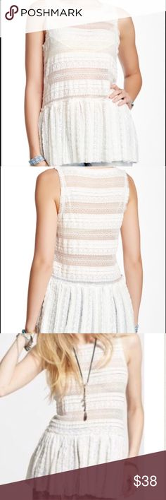 """Free People lace top NWT ivory lace retails for $68. Really pretty tank. Measures about 20"""" pit to pit and 26"""" long (lying flat). ❤️ Free People Tops Tank Tops"""