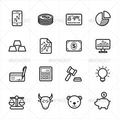 Flat Line Icons For Finance Icons