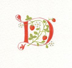 Handpainted initial letter 'D' in red with by claremccrory27, £24.00