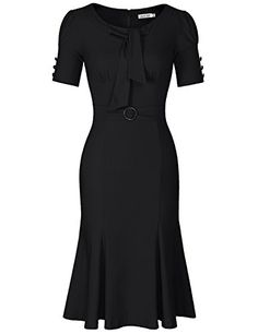 JUESE Women's 50s 60s Formal or Casual Party Pencil Dress (XL, Black). Material: Rayon 65% Cotton 30% Spandex 5%. Soft And Comfortable Material. True Retro Look. Occasion: Casual, Work, Evening Party, Cocktail,Wedding Guest, Christmas Party. Knee Length Dress. Please refer to the size chart in the picture to choose the right size.