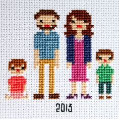 Create a family portrait in cross stitch! Full tutorial and several helpful patterns to get you started.