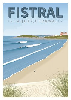 Surfing poster of Fistral beach in Newquay, Cornwall printed art paper. Vintage Beach Posters, Art Vintage, Posters Uk, Poster Prints, Art Deco Posters, Retro Posters, Cornwall Beaches, Newquay Cornwall, Beach Illustration