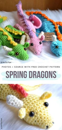 Spring Dragons Free Crochet Pattern Today`s collection is all about Amigurumi Dragons. These mythical creatures interest and fascinate not only children but also adults. Crochet Motifs, Crochet Patterns Amigurumi, Crochet Dolls, Knitting Patterns, Arm Knitting, Crochet Gratis, Cute Crochet, Crotchet, Knit Crochet