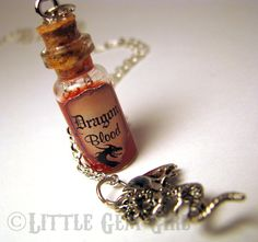 Dragon Blood - Glass Bottle Cork Necklace - Potion Vial Charm - Red Copper Shimmer - Magic Spells