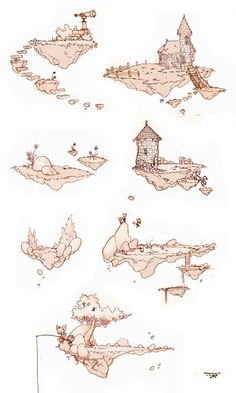 More Floating Islands…! More Floating Islands…! More Floating Islands…! Fantasy Map, Fantasy Kunst, Fantasy Castle, Fantasy House, Fantasy Island, Fantasy Landscape, Landscape Art, Landscape Drawings, Drawing Sketches