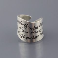 """Etched Sterling Silver Thoreau Ring by Lisa Hopkins Design :: """"Go confidently in the direction of your dreams - live the life you have imagined"""""""