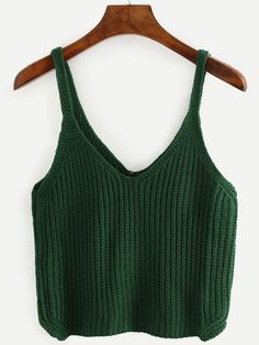 To find out about the Green Strap V Neck Knit Cami Top at SHEIN, part of our latest Tank Tops & Camis ready to shop online today! Crochet Summer Tops, Crochet Top, Casual Outfits, Cute Outfits, Fashion Outfits, Crochet Clothes, Diy Clothes, Knitted Tank Top, Cami Tops