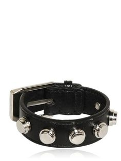 Black Buckled Leather Bracelet