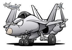 Military Naval Fighter Jet Airplane Cartoon by hobrath