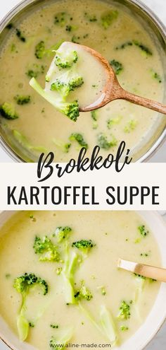 Creamy potato broccoli soup with a bite! This soup is vegan, healthy, tasty, quick to prepare and perfect for a light meal in winter! Light Recipes, Vegan Recipes Easy, Soup Recipes, Vegetarian Recipes, Broccoli Potato Soup, Vegan Potato Soup, Vegan Soup, Vegan Nutrition, Healthy Soup