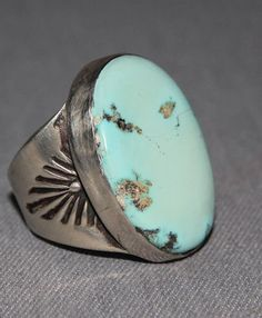 $375 Gent's Light Blue Turquoise Ring, Jewelry by Navajo