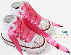 Infant, Toddler Baby Girl Hi-Top White Converse All Star Chuck Taylor's With Pink Ribbon Laces & Swarovski Crystal Rhinestones   Urban Baby Co.