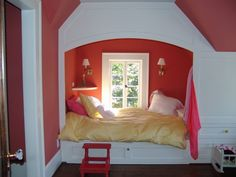 good use of space in bedrooms upstairs...especially given the small dormer/storybook windows...build in a twin, so room is open for playing, and then when they're older, this can be a reading/studying nook and they can have a larger bed in the room.