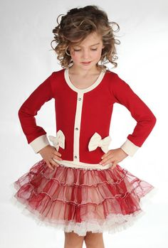 Bunnies Picnic - Ooh La La Couture Coco Cardigan Dress in Red for Girls - Boutique Clothing for Girls and Boys
