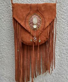 bohemian macrame fringe leather bag by inespu on Etsy