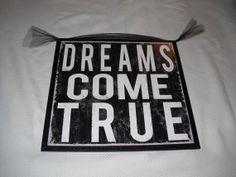 Dreams Come True Wooden Girls Bedroom Wall Art Teen Room Decor