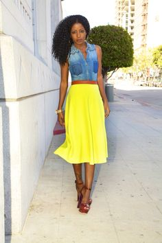 Style Pantry | Sleeveless Denim Shirt + Neon Circle Skirt