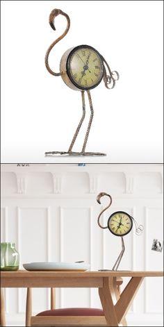 Metal Vintage Flamingo Figurine Handmade Clock