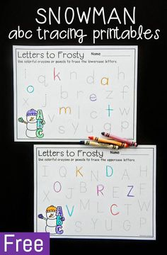 These snowman alphabet tracing printables are a simple and fun way for preschoolers and kindergartners to work on upper and lowercase letter writing at literacy centers this winter! Alphabet Activities, Preschool Activities, Work Activities, Vocabulary Activities, Preschool Worksheets, Pre Writing, Letter Writing, Writing Centers, Alphabet Tracing